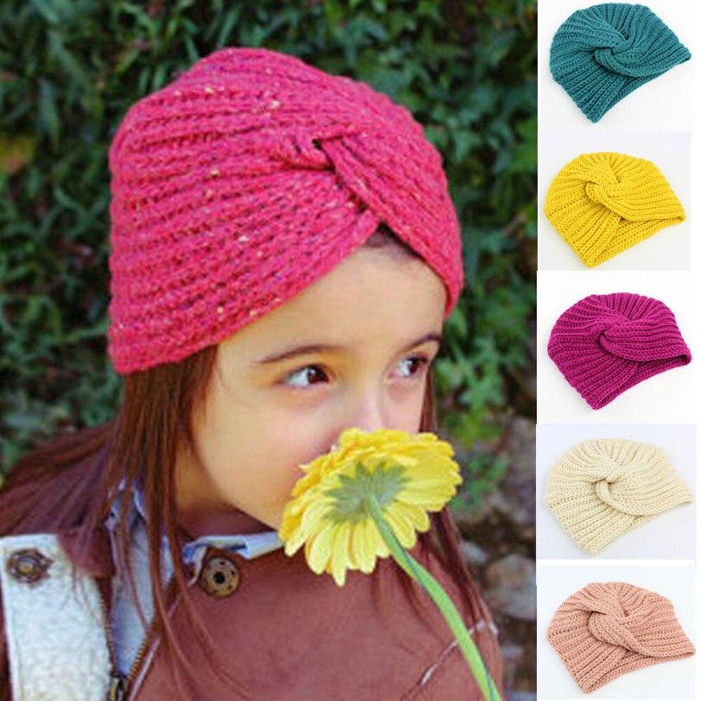 New baby hat Baby Girls Knitting Hat Beanie Turban Head Wrap Cap Pile warm soft Cap Bandanas cute winter hats for kids 3-8T