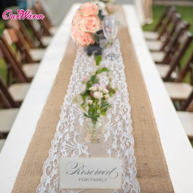 Natural Burlap Table Runner Hessian Vintage Tablecloth Cover With Jute Lace  Chrysanthemum Pattern For Wedding Party