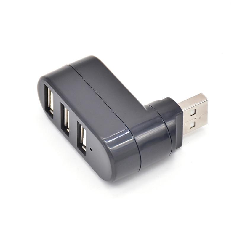 180 Degree Rotating USB Hub with 3 USB 2.0 Ports Rotatable External USB Splitter Adapter Hub for Laptop PC Computer UD01
