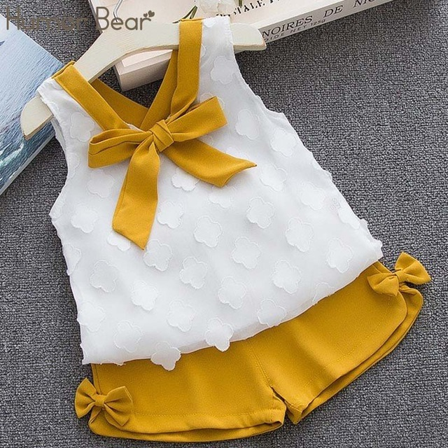 Humor Bear Baby Girls Clothes Sets 2019 Summer Dot flying sleeve top+strap dress+Headband 3-piece kids Children's Clothing Suit 5