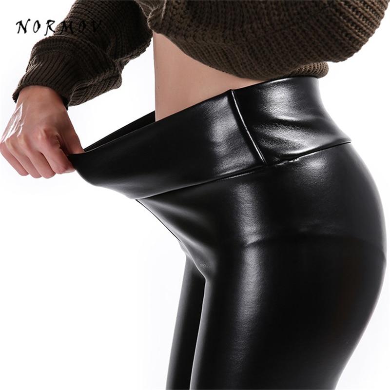 NORMOV S-5XL Women Faux Leather Leggings Winter Keep Warm High Waist Jegging Ankle-length Large Szie Plus Velvet Female Legging