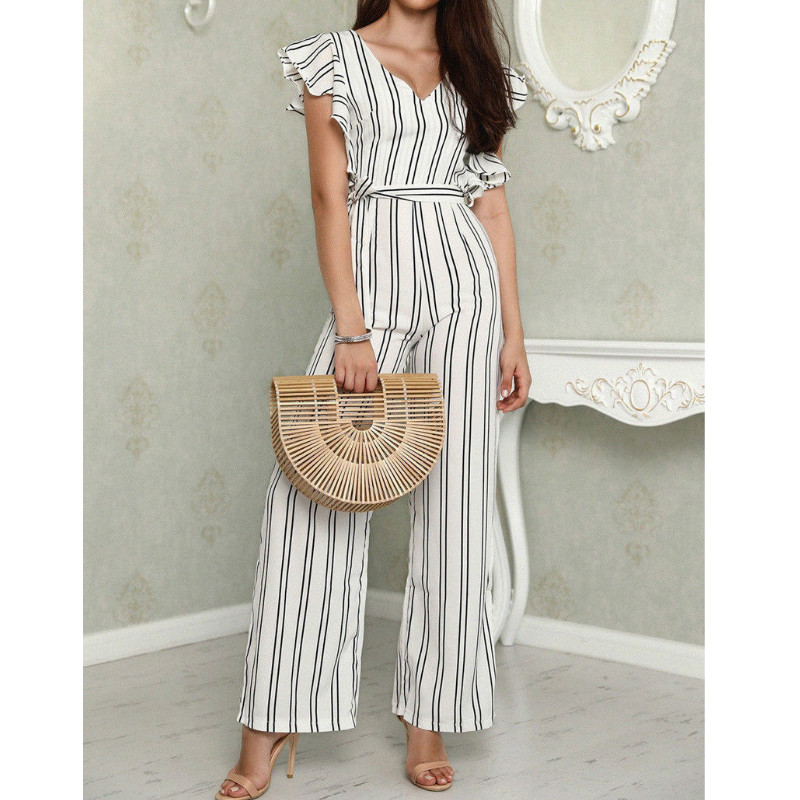 2018 Summer Elegant Striped Ruffle Deep V-neck Belted   Jumpsuit   Fashion Women Sleeveless   Jumpsuit