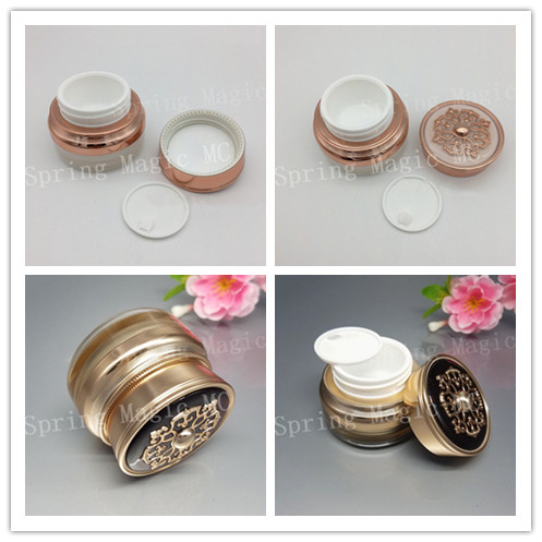15G Pearl White Gold Luxury Acrylic Cream Jar For Eye Cream CC Cream Foundation Skin Care