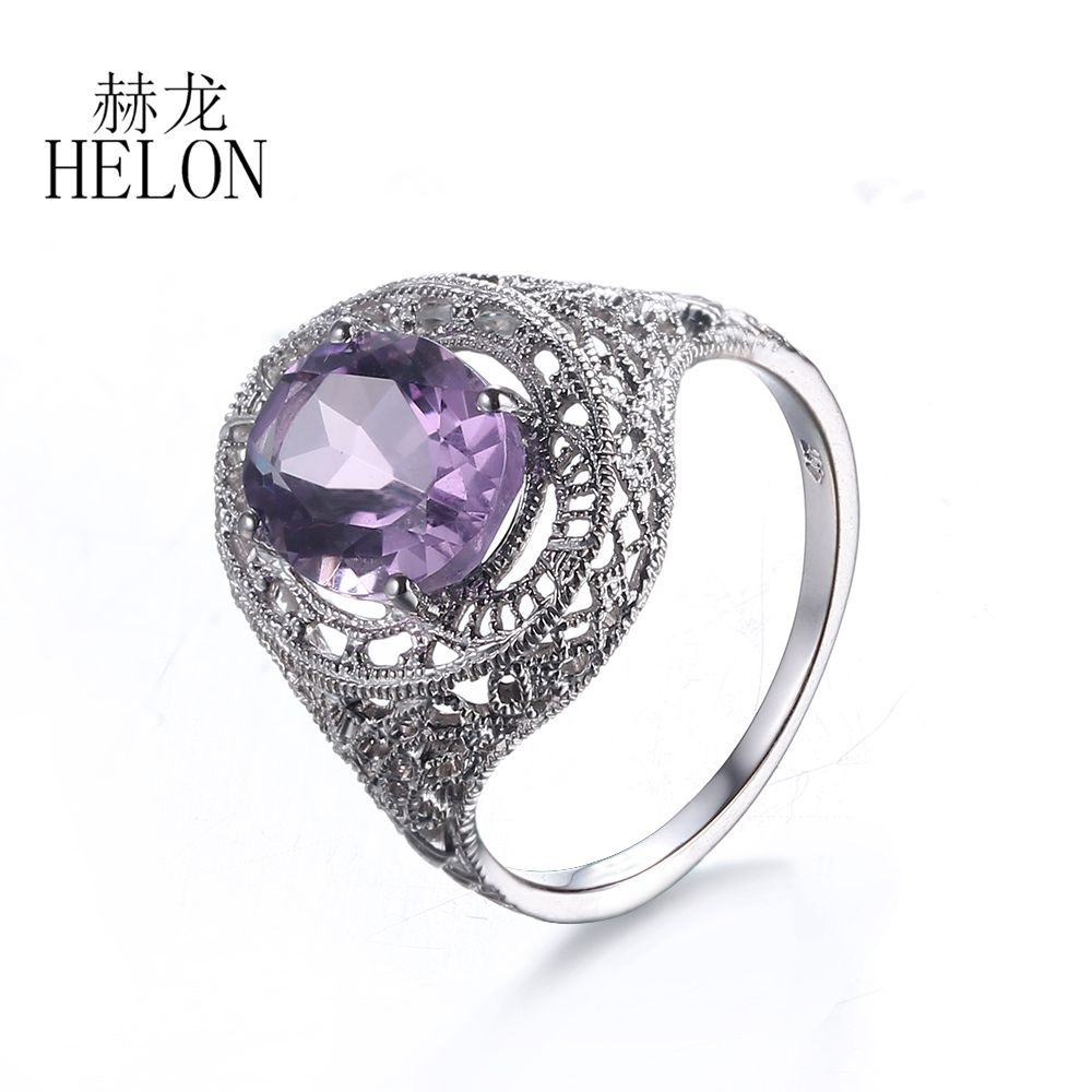 HELON 2.68ct Amethyst 10X8mm Oval Shape Solid 10K White Gold Vintage Antique Engagement Wedding Womens Party Jewelry Fine Ring