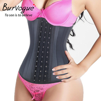 New Arrival Waist Training Corsets And Bustiers Underbust Latex Waist Cincher 25 Steel Bone Slimming Shaperwear