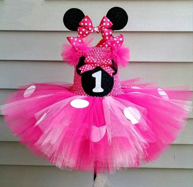 חמוד בנות ורוד מיקי טוטו שמלת תינוק סרוג טול שמלה עם לבן נקודות Hairbow ילדי מסיבת יום הולדת Cartoon קוספליי שמלה