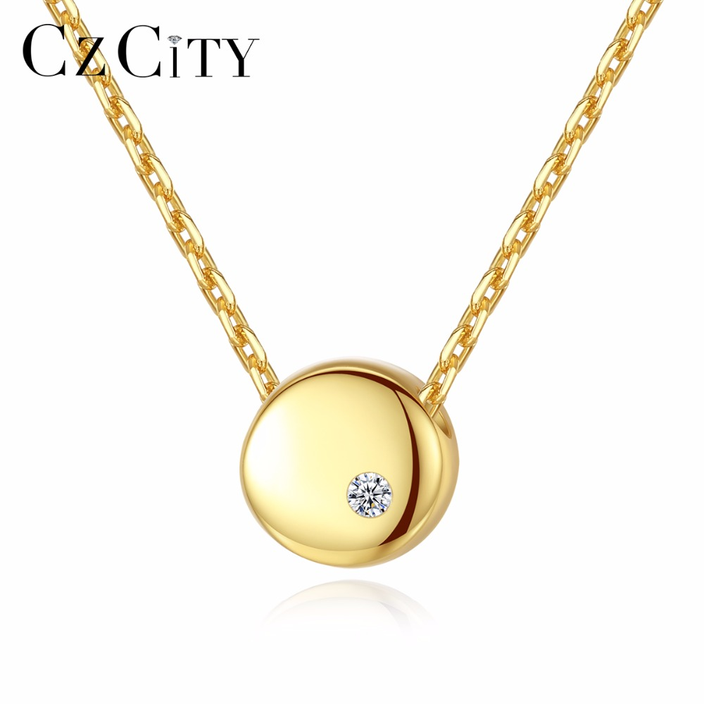 CZCITY Minimalist Tiny Zircon Round Beans Pendant Necklace For Women 18k Gold Plated Chain Link Necklace Silver 925 Jewelry Gift