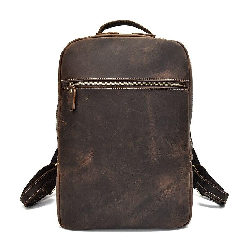 Мужской рюкзак прочный Crazy Horse кожа мужские сумки на плечо верхний слой кожа Повседневная Большая емкость Мужской рюкзак для ноутбука - 2