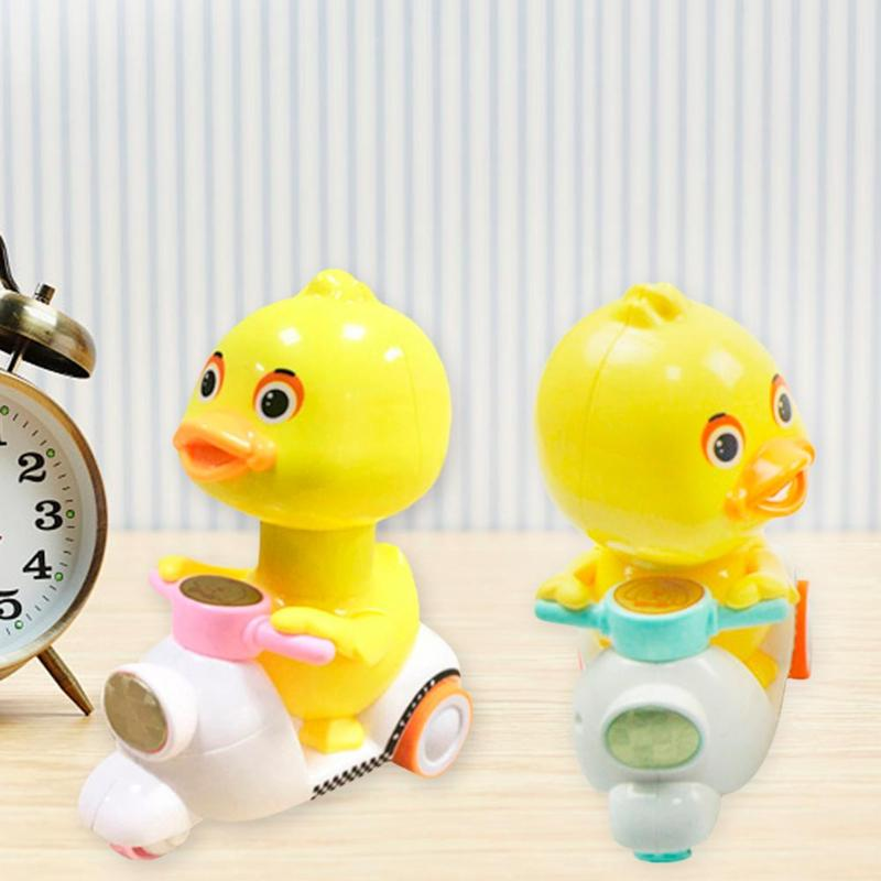 Baby Cartoon Doll Pressing Force Duck Pressure Type Motorcycle Squeeze Toy For Children Random Color