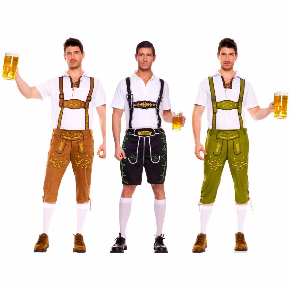 Rompers Suit  for Men's Germany's Oktoberfest  and  Halloween Waiter Costumes Kit Cosplay Clothes M L XL