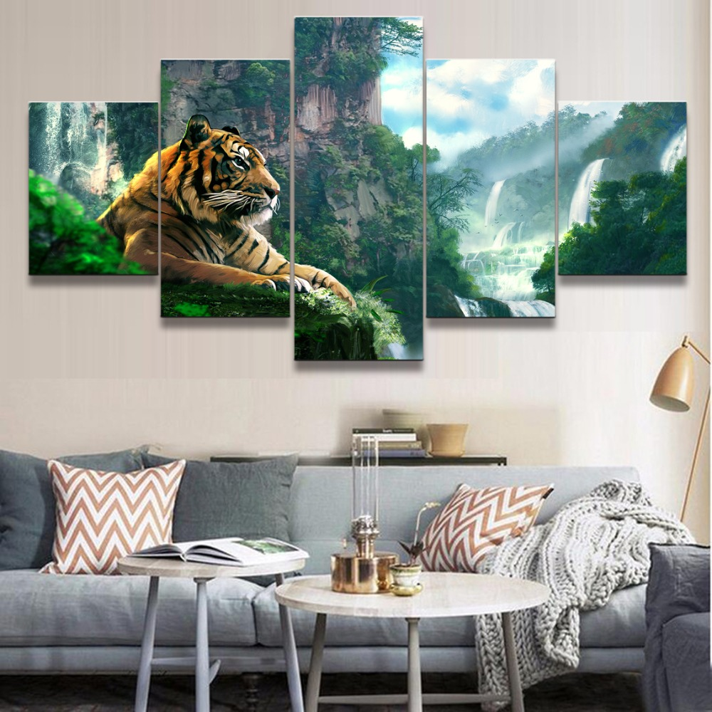 Canvas Pictures Wall Art Home Decor 5 Pieces Animal Tiger