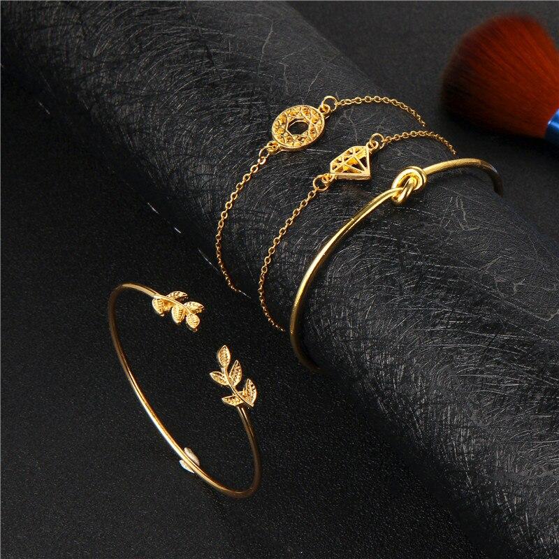 docona 4pcs/1set Punk Bracelet Simple Geometric Leaf Knot Metal Chain Bracelet Bohemian Retro Bracelet Jewelry Accessories 6115 3