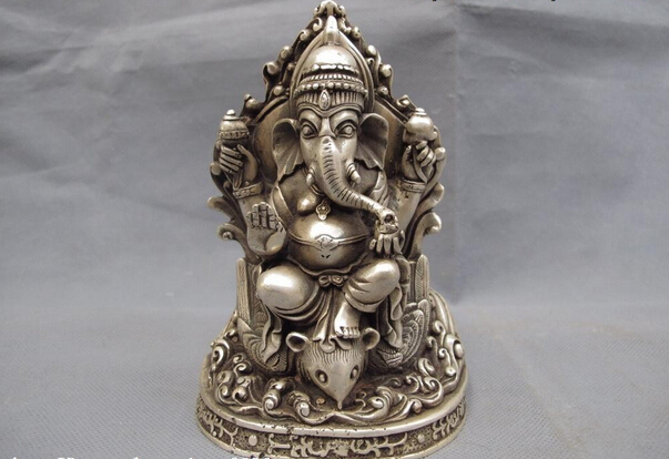 S1038 Tibet Buddhism Temple White Copper Silver Ganapati Elephant God Of Wealth Statue D0317