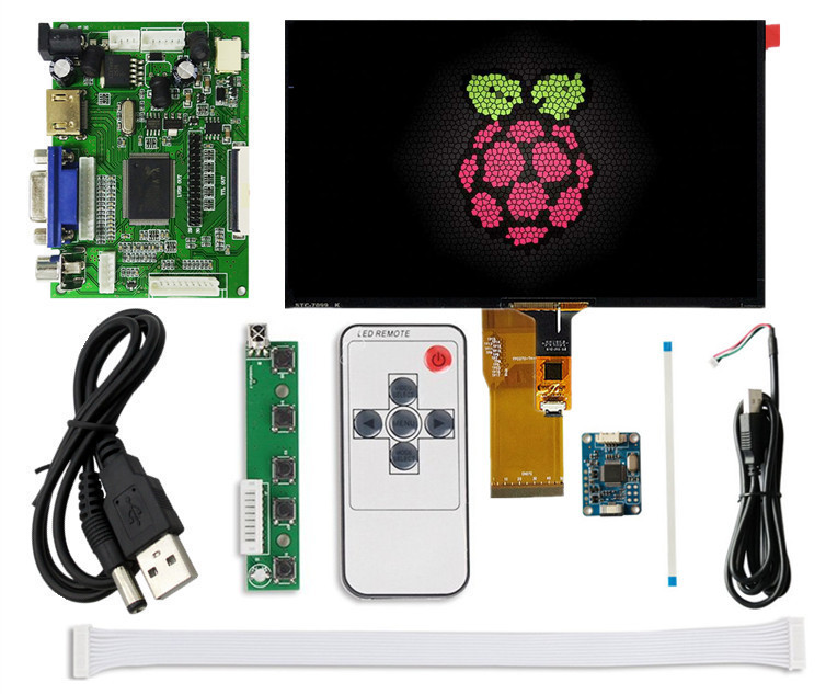 LCD with Touchscreen Digitizer for Raspberry Pi Mini computer Display Screen Monitor Remote Driver Control Board 2AV HDMI VGA