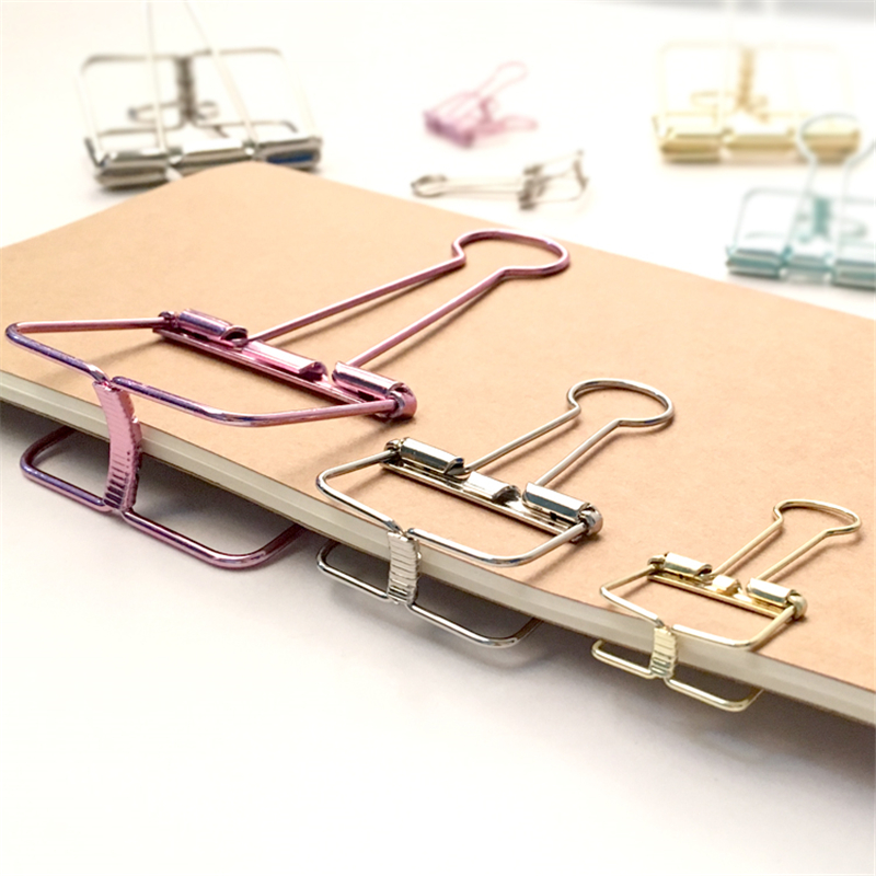 Creative Cute Kawaii Colorful Metal Paper Clips For Ticket File School Supplies Korean Stationery Student 681