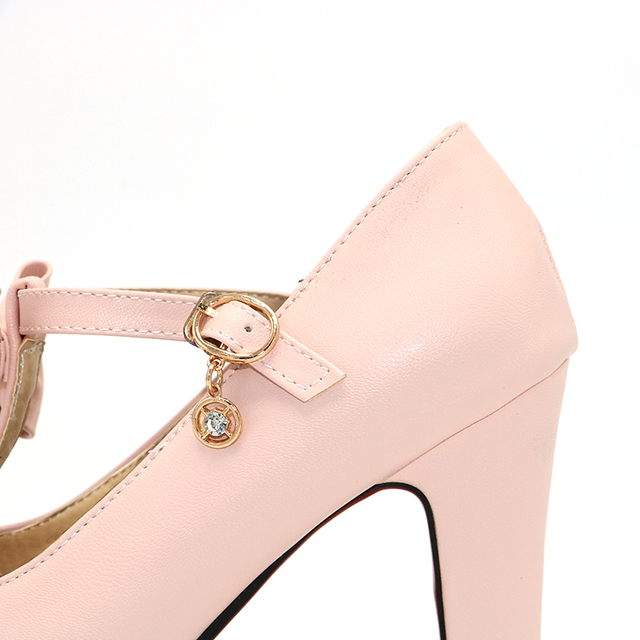 TAOFFEN Size 31-47 Vintage T-strap Women High Heel Shoes Ladies Brand Bowtie Round Toe Heeled Pumps Fashion Platform Shoes Women
