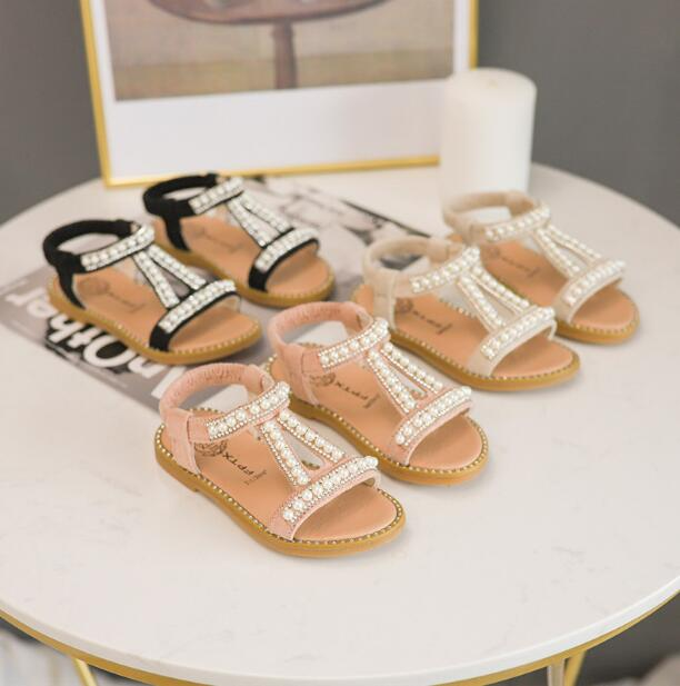 2019 New Summer Girls Sandals With Pearl Children Soft Beach Shoes For Baby Girls Kids Fashion Princess Sandals EU 21-302019 New Summer Girls Sandals With Pearl Children Soft Beach Shoes For Baby Girls Kids Fashion Princess Sandals EU 21-30