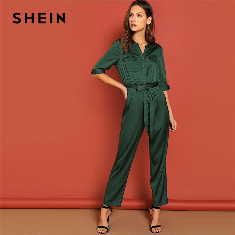 SHEIN Green Pocket Patched Self Belted Shirt Office Lady Elegant Solid Half Sleeve   Jumpsuit   Spring Workwear Women   Jumpsuits
