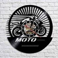 Extreme moto racing vinil registro 3d relógio de parede fã decoração da arte da parede original presente exclusivo decorativo relógio de parede do vinil
