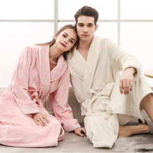 RB0288 Women Men Winter Long Bathrobe Lovers Thick Warm Flannel Robe Bath Robe Plus Size Sleepwear Couples Male Female Robes