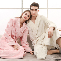 RB0288 Women Men Winter Long Bathrobe Lovers Thick Warm Flannel Robe Bath Robe Plus Size Sleepwear Couples Male Female Robes