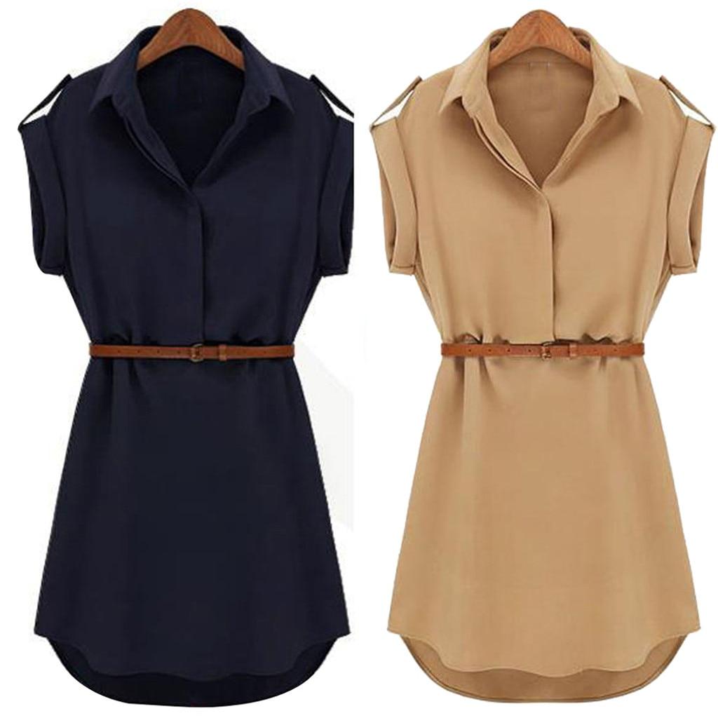 Women Casual Summer Shirt Dress Summer Dress 2019 Loose Short Sleeve Dress With Belt Turn Down Collar Autumn Dress Vestidos #20(China)