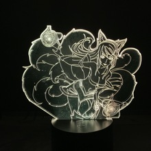 3d Led Night Light League of Legends Hero Ahri Lore The Nine Tailed Fox Color Changing Usb or Battery Powered Table Lamp LOL