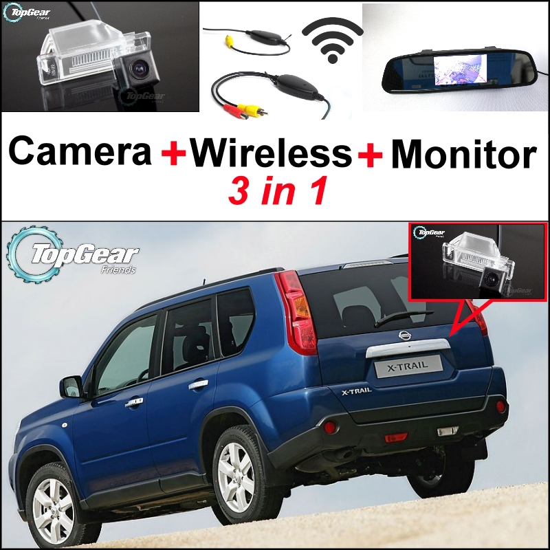 ФОТО 3 in1 Special Rear View Camera + Wireless Receiver + Mirror Monitor DIY Backup Parking System For Nissan X-Trail XTrail X Trail