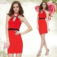 HE05150 Halter Red V-neck Empire Short Cocktail Party Dress vestidos de formatura short prom dress