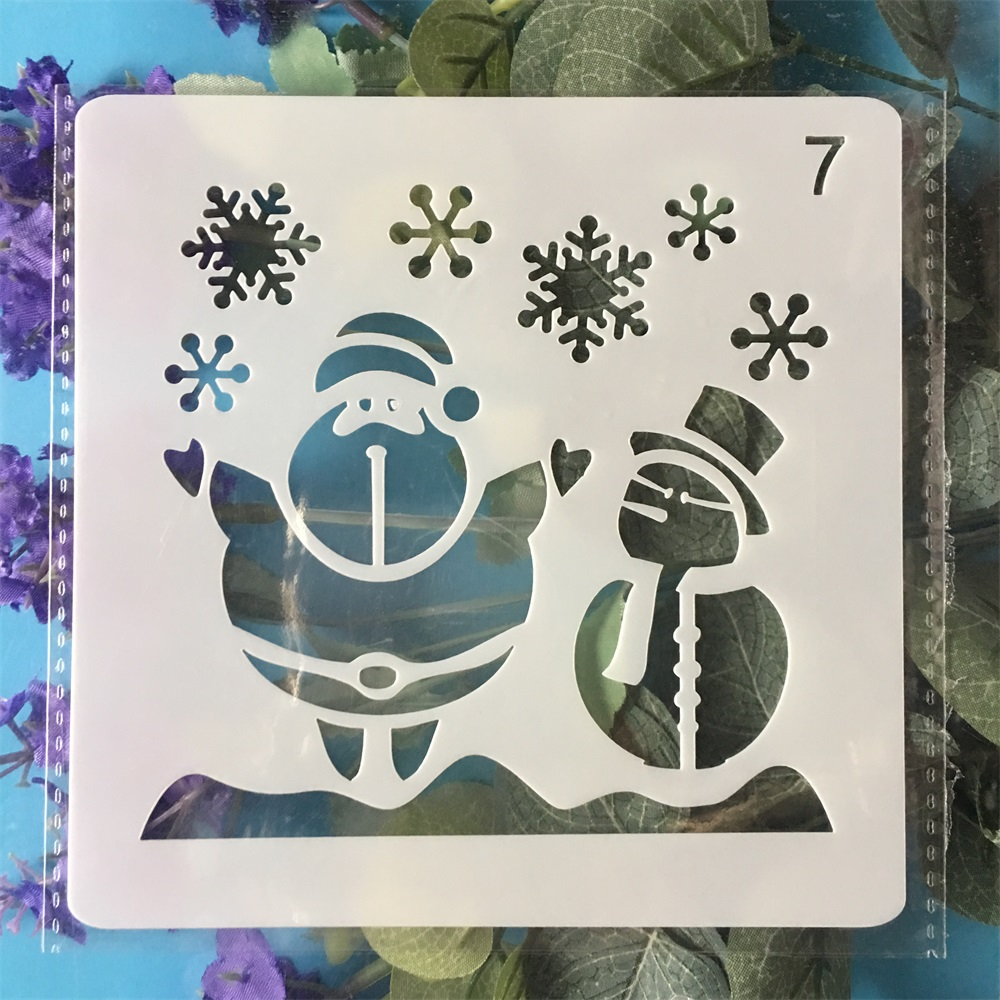 13cm Christmas Santa Snowman DIY Layering Stencils Painting Scrapbook Coloring Embossing Album Decorative Template