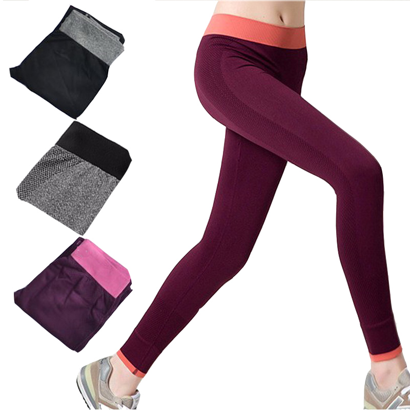 Women Yoga Pant Seamless Solid Fitness Skinny Sport Leggings <font><b>Slim</b></font> Jogging Capris Quick Dry Gym Pencil Trousers Exercise Jeggings