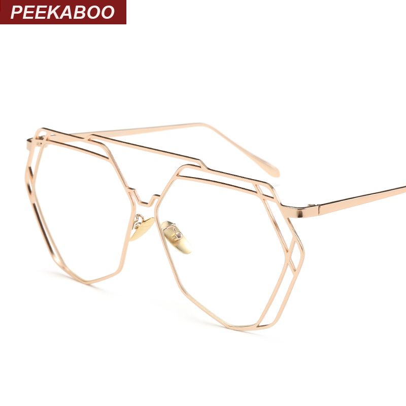 peekaboo wholesale high quality vintage flat top polygon glasses clear lens men fashion gold metal frame