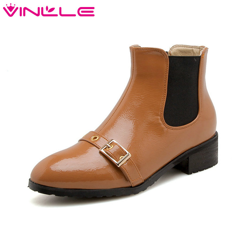 VINLLE 2019 Women Ankle Boots Platform Lace Up Winter
