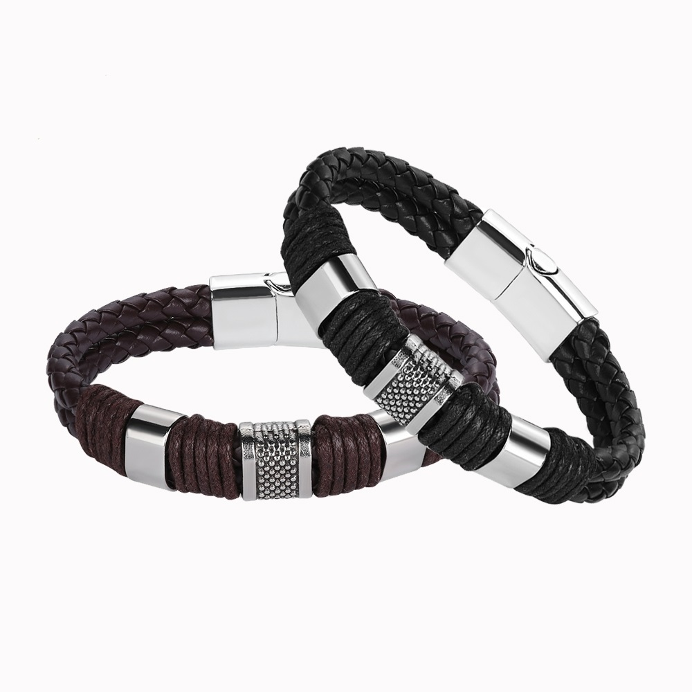 Bangles Obliging 2019 New Punk Stylish Men Women Leather Bracelet Magnetic Braided Clasp Bracelet Weave Bangle Fashion Jewelry Gifts Clear And Distinctive