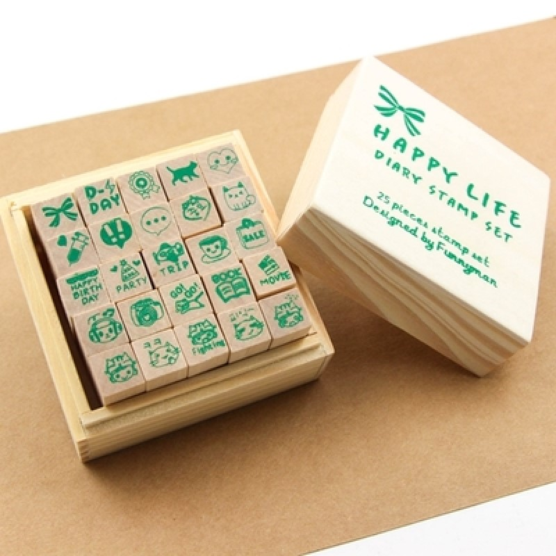 25pcs DIY craft wood stamp set happy life design diary decorative cat coffee trip book etc cartoon label цена