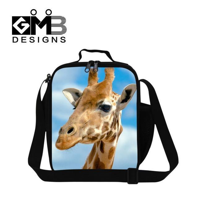 Crossbody girafas impressão almoço de almoço térmica para crianças escola para a menina, Caixa de saco de comida, Adulto saco de trabalho
