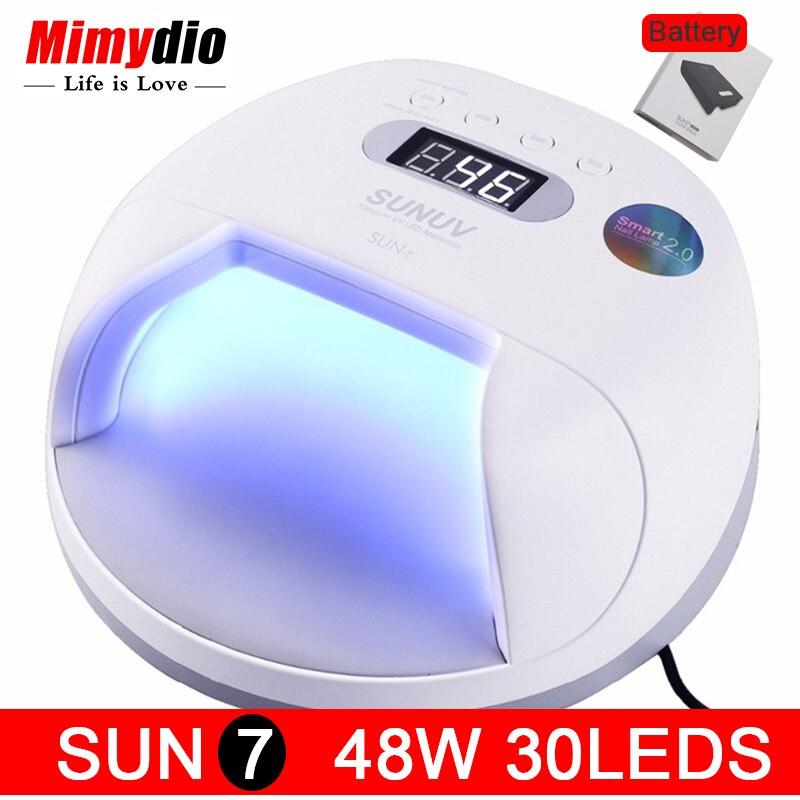 Оригинальный sunuv sun7 ногтей Лампа 48 Вт UV LED двойной источник света ногтей сушилки машина с интеллектуальный таймер памяти и сенсор Мощность х...