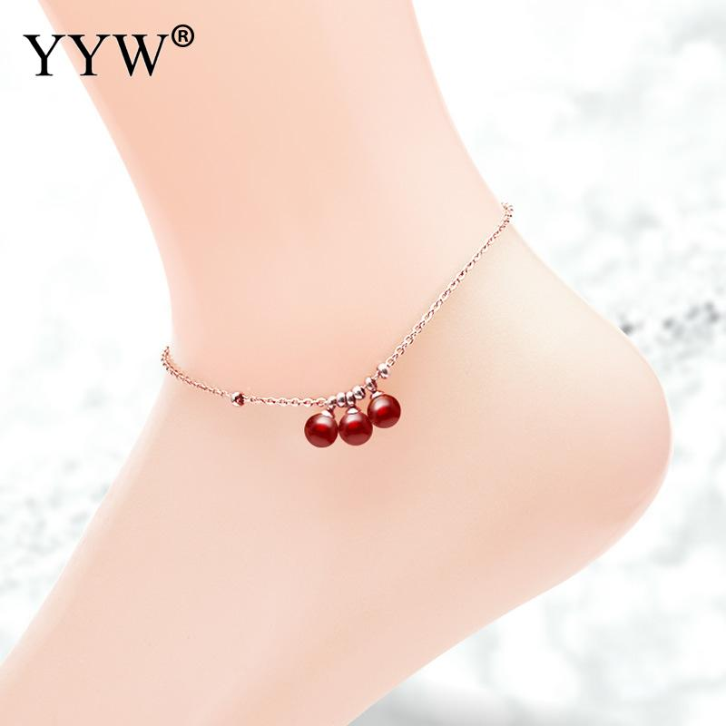 New Design Simple Stainless Steel Women Ankle Chain Charm Anklet With Red Agates Jewelry Girls High Heels And Sandals Accessory