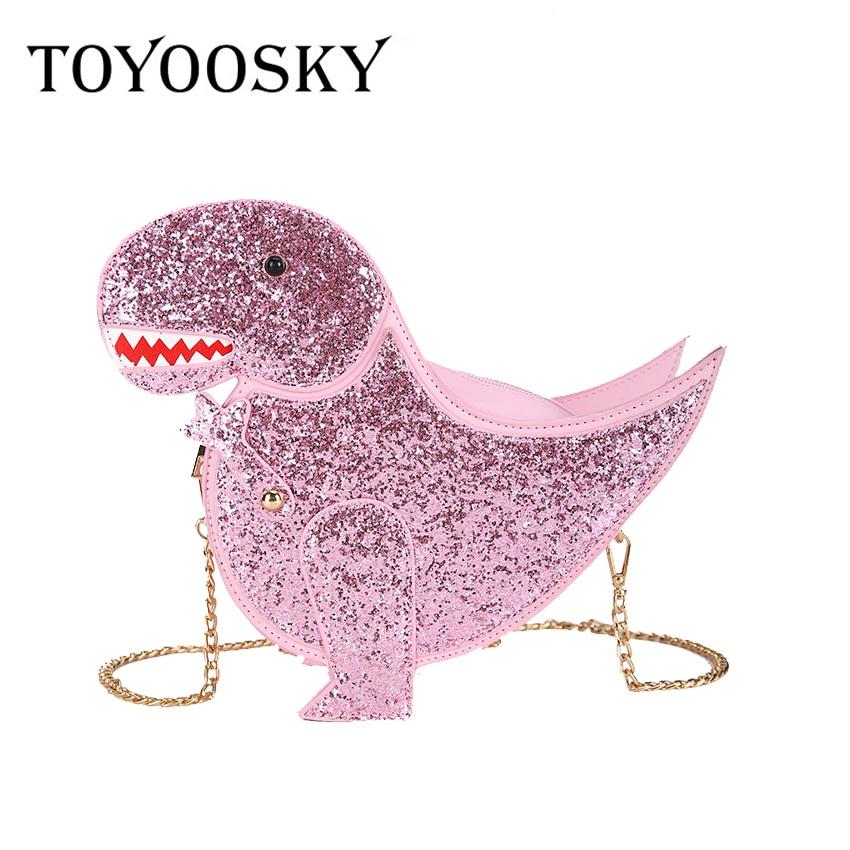 Fl Elaborazione Modo Dell'unità Dinosauro Crossbody red Messaggero Mini Moda Delle Spalla Personalità pink Donne Femminile Disegno Borsa Sacchetto Del Catena Alla Black Di Cuoio Della E1Iwx8q