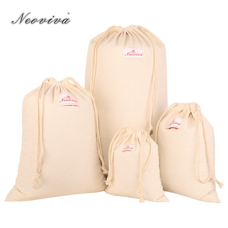 Neoviva Durable Cotton Canvas Storage Bags for Clothing, Set of 4 in Different Sizes, Solid Nature Canvas Drawstring Storage Bag garment bag