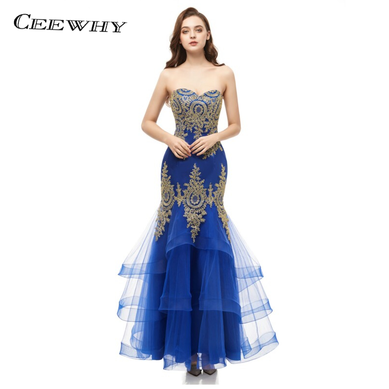 Mermaid Strapless Luxury Long   Evening     Dresses   Sleeveless Lace Up Formal Gowns Prom Party Long   Dresses   Elegant Robe Soiree CEEWHY