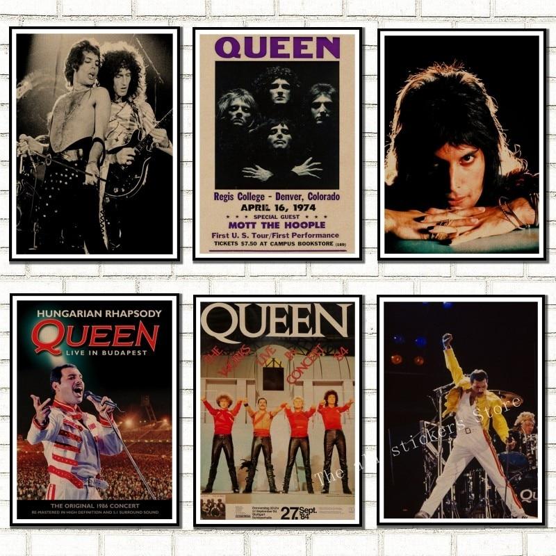 С группой Queen музыкальный крафт-бумага плакат в винтажном стиле высокого качества для печати рисунка основной декоративная живопись Наклей...