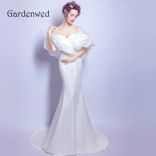 Gardenwed Simple Off Shoulder Mermaid Wedding Dresses 2019 Long White Satin Wedding Gowns Summer Bridal Dress Vestido De Noiva