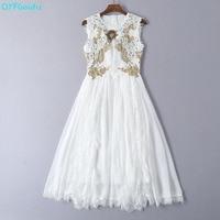 QYFCIOUFU Summer 2019 Sleeveless White Dress Women High Fashion Floral Embroidery Runway Dress Elegant Splice Beading Midi Dress