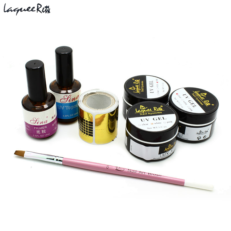 7Pcs Professional Acrylic Nail Kit Clear White Pink Uv Gel+Top Coat Nail Gel+Primer Base Gel+Brush +Form For Nail Art 59 1 2in x32 1 4in x86in standard fit shower kit in white acrylic base silver hamrd door left drain decora provantage
