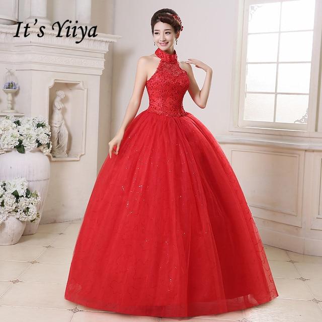 תמונה אמיתית בתוספת גודל Vestidos דה Novia זול אדום לבן חתונה שמלות הלטר Sez תחרה נסיכת הכלה שמלות שמלות HS160