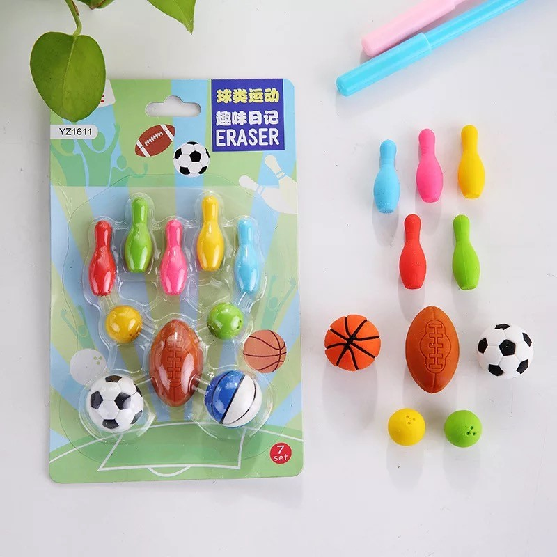 10pcs/set Football Basketball Rugby Bowling Ball Sports Rubber Eraser Kawaii Stationery School Supplies Papelaria Kids Gifts