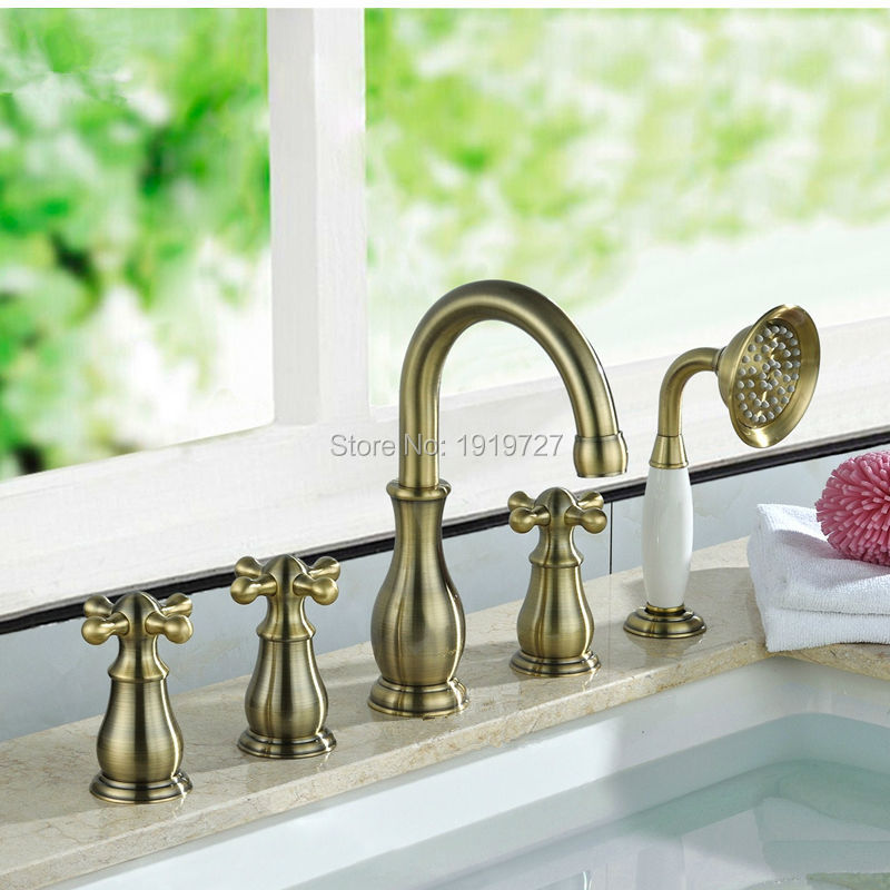 Bathtub Sink Classic Gooseneck Water Outlet Faucet Shower Deck Mount Brushed Bronze Bath Tub Mixer Tap With PullOut HandHeld