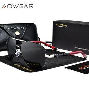 Image 2 - AOWEAR gafas de sol polarizadas para hombre, lentes de sol masculinas con espejo de aluminio HD para conducir, de diseñador de marca, accesorios de aviación