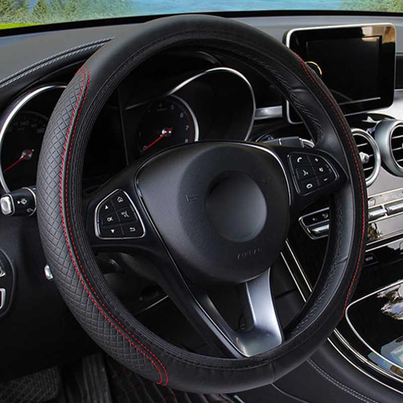 ファッション 6 色車のステアリングホイールカバーステアリング輪 funda volant 人工皮革組紐ボランチ自動車スタイリング